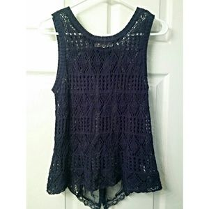 Rewind Crochet and Lace Sleeveless Top Navy
